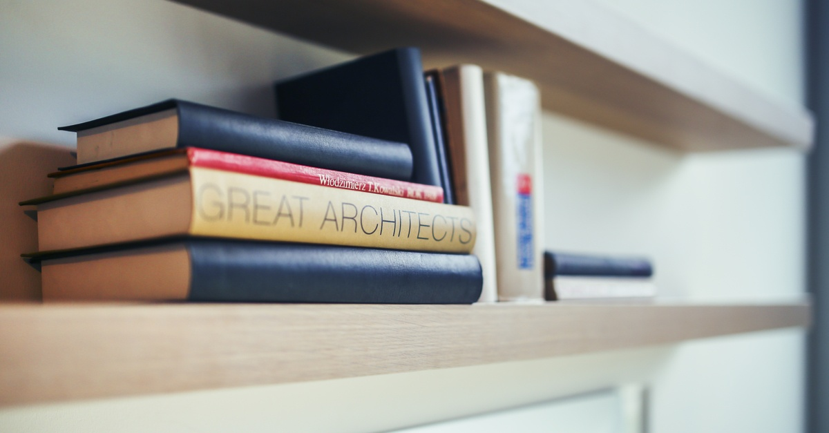 Great architects book - wooden shelf · Free Stock Photo