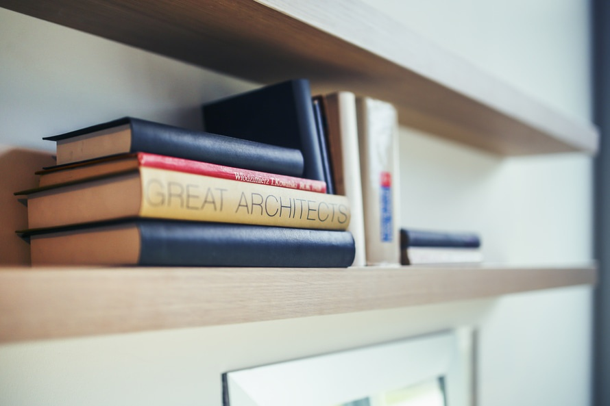 Great architects book - wooden shelf