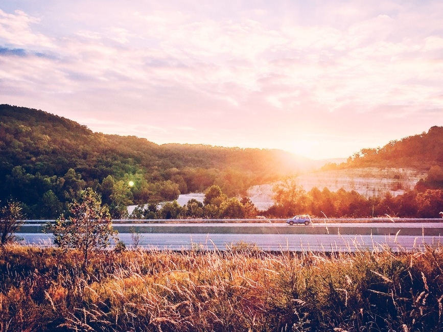 road, sunset, sunny