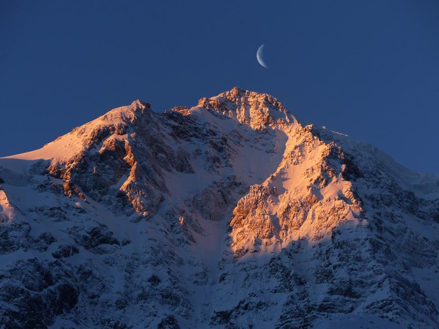 winter snow mountain moon - photo #46