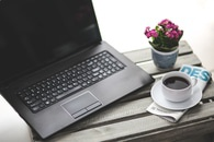 coffee, cup, laptop