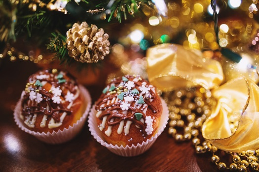 Two Cupcakes with Winter Decor