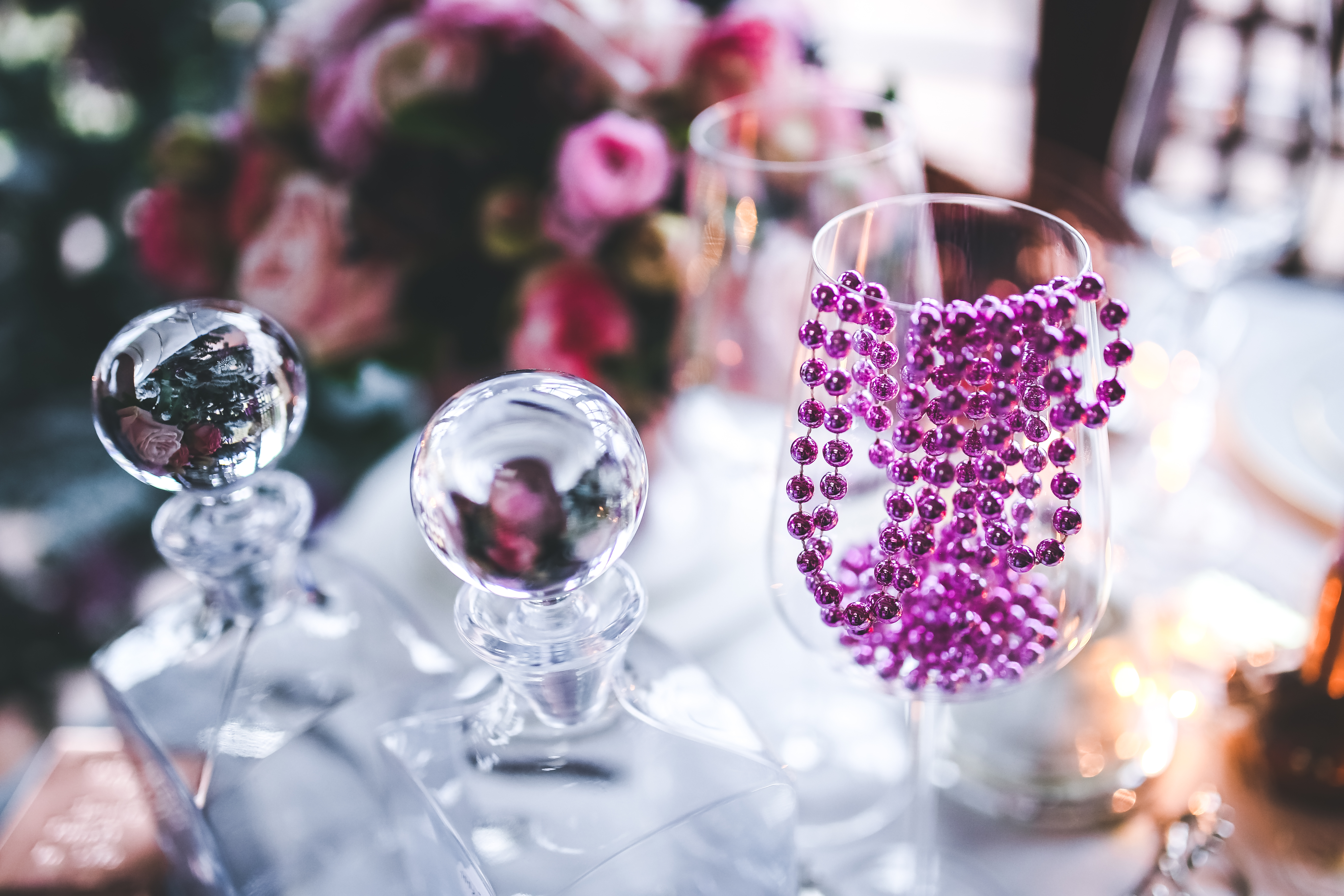 Pink Decoration On Wine Glass Free Stock Photo