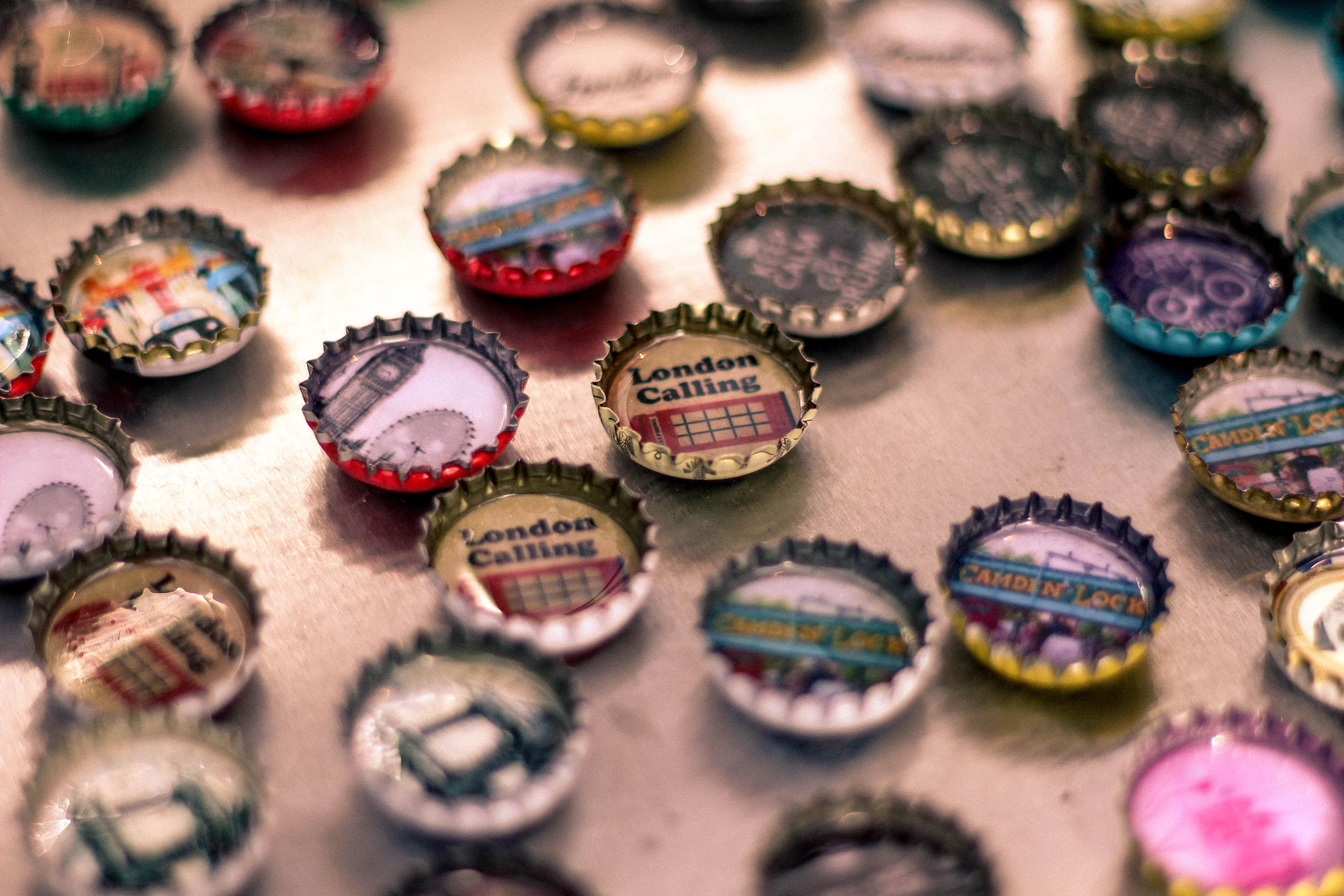 Free stock photo of bottle caps decoration design for Bottle cap designs