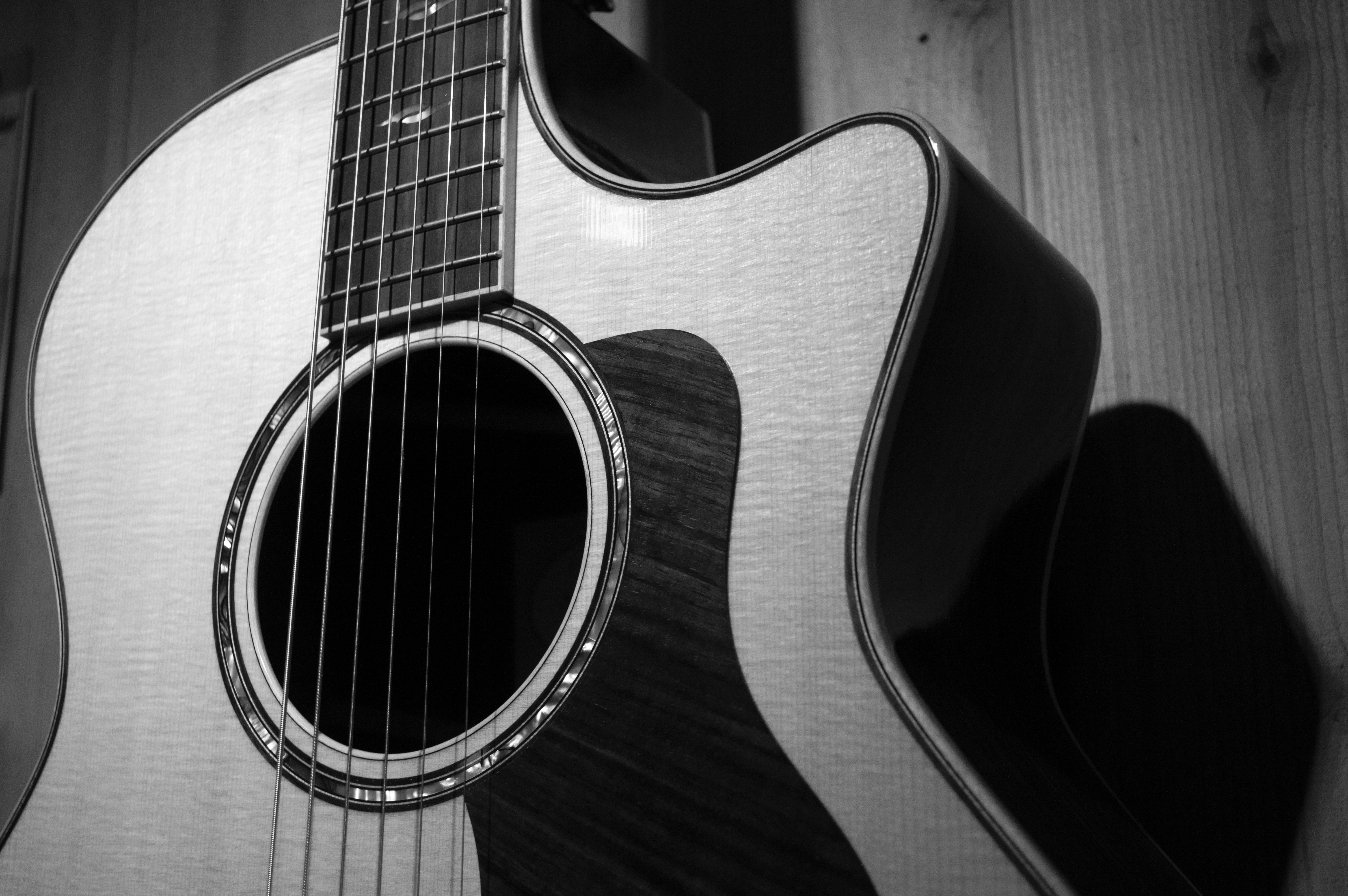 Acoustic Guitar In Grayscale Photo Free Stock