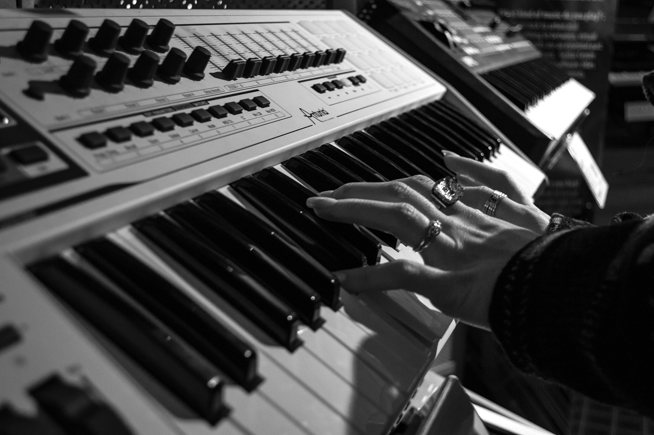 Person Playing Electric Piano in Grayscale Photo · Free ...