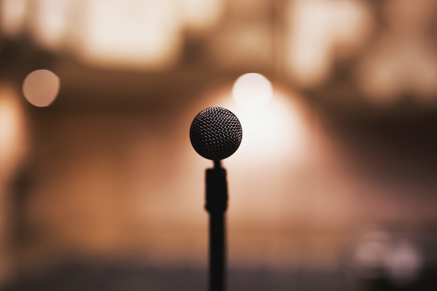 Black Microphone Before a Talk