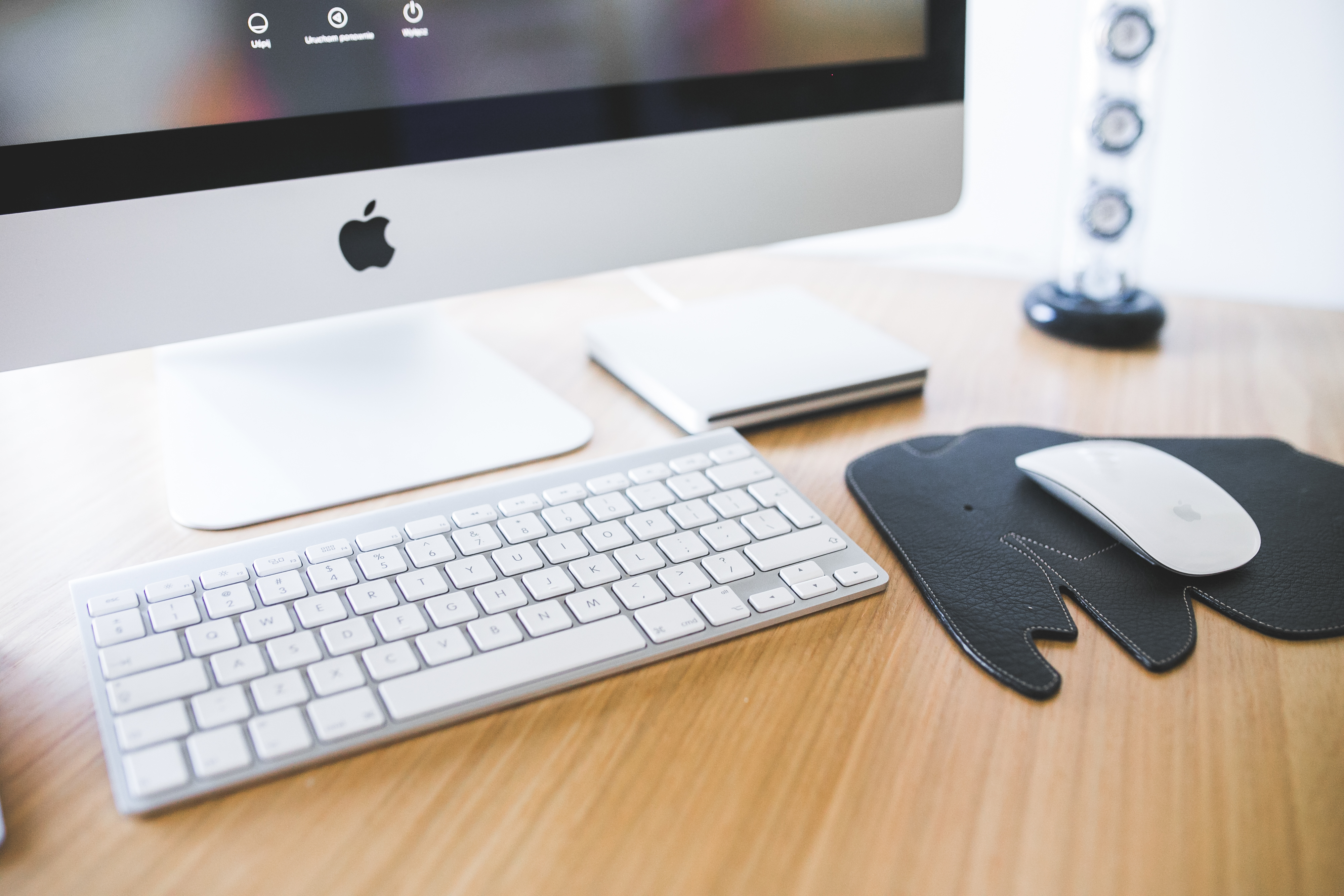 Desk Office Apple Imac Close Up Of Monitor Mouse And Keyboard Free Stock Photo