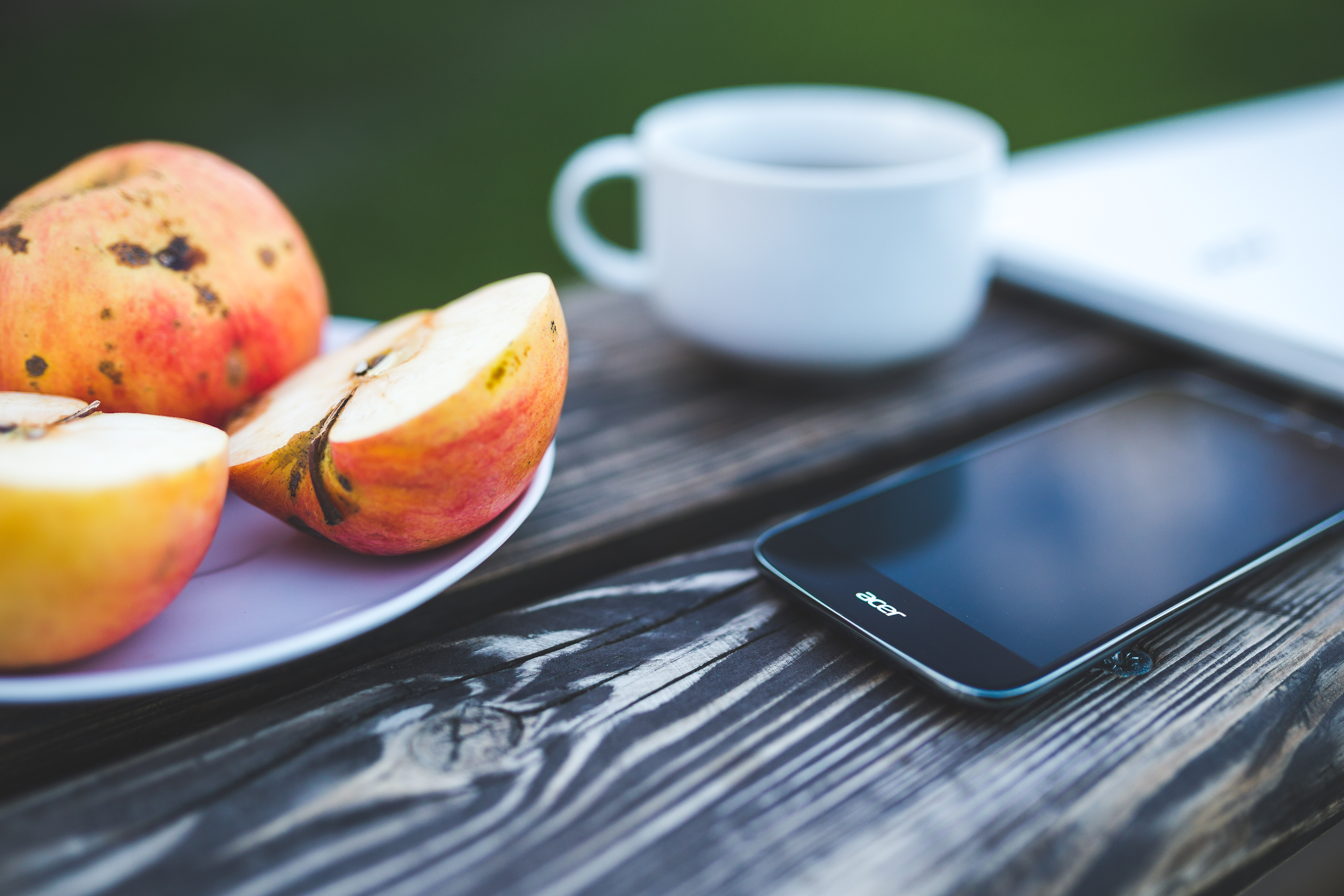 Mobile phone apple coffee on the wooden table · Free Stock