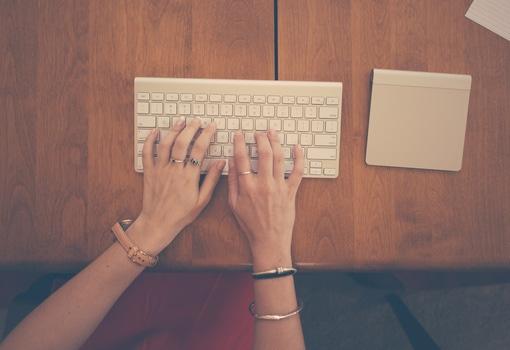 hands, woman, apple, desk