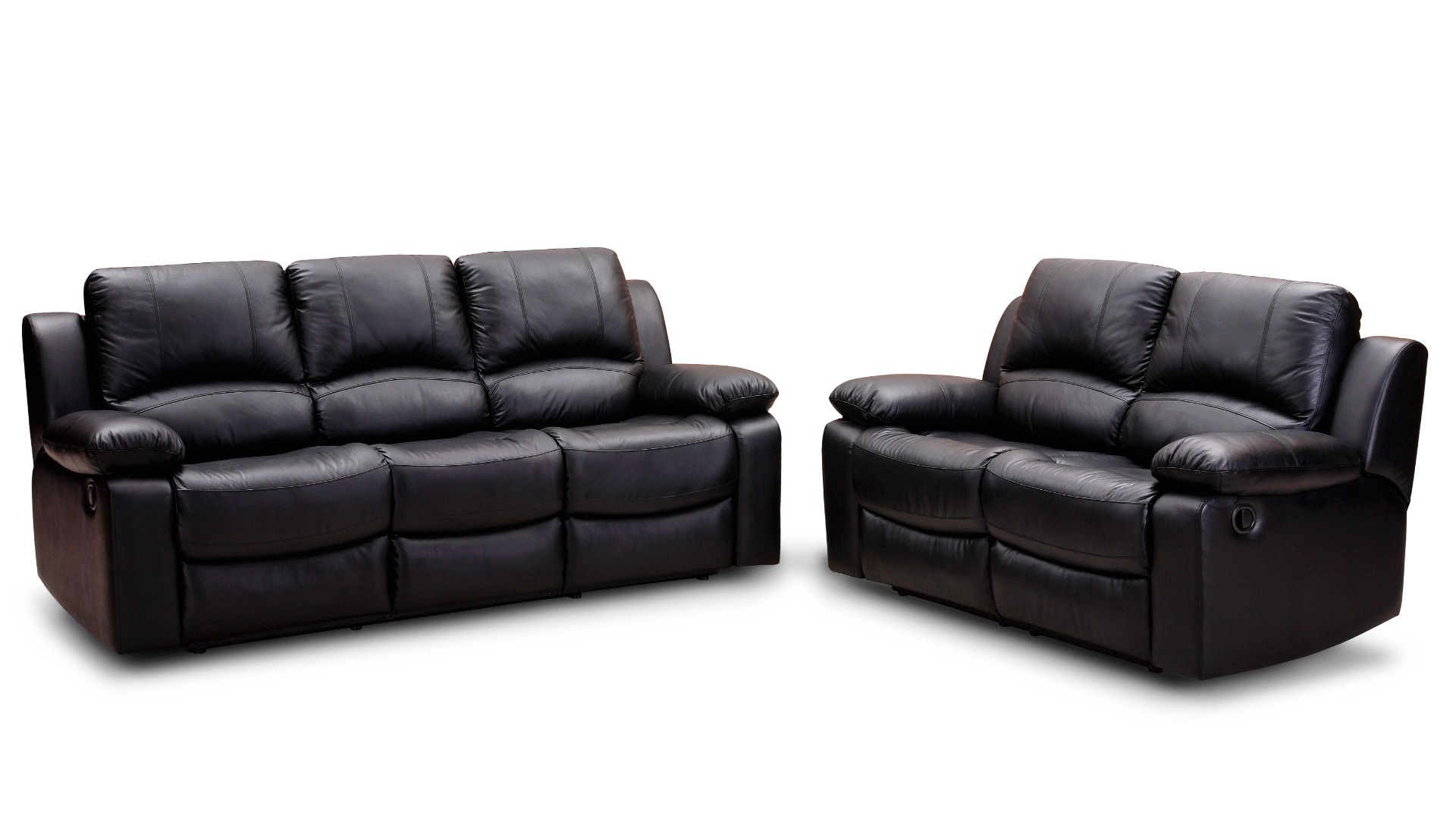 Black leather padded cushion couch near to black leather for Sofas de 4 plazas baratos