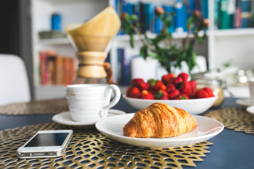 Croissants and strawberry for breakfast