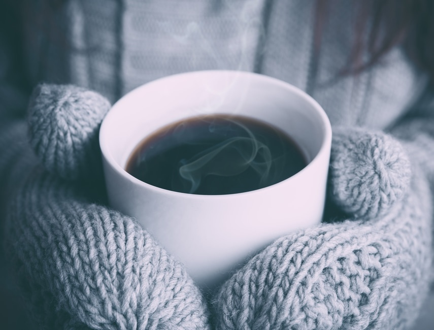Hot Beverage and Gloves