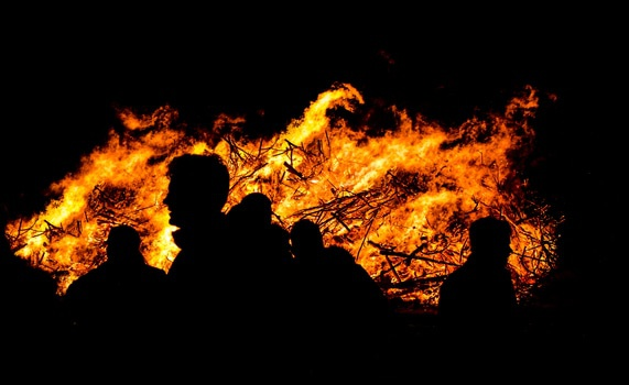 Free stock photo of people, night, silhouette, fire