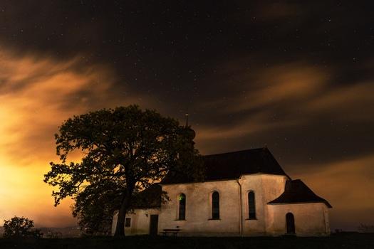 Free stock photo of night, house, stars, church