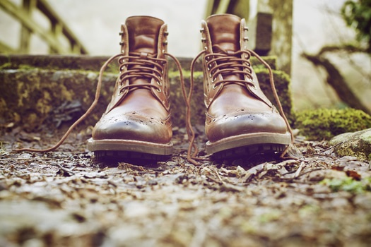 Brown Leather Work Boots on Ground