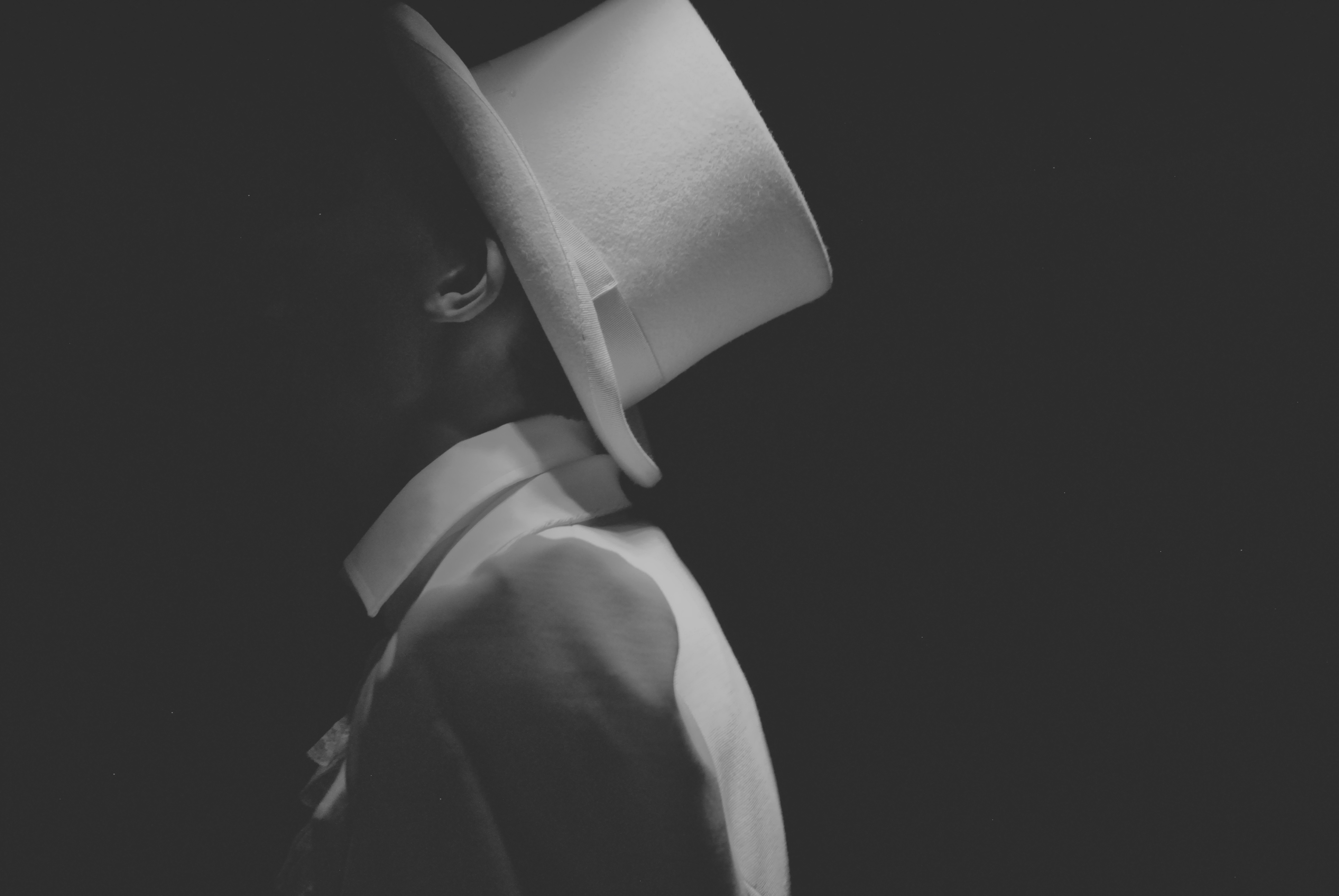 Man Wearing White Hat Greyscale Photography Free Stock Photo