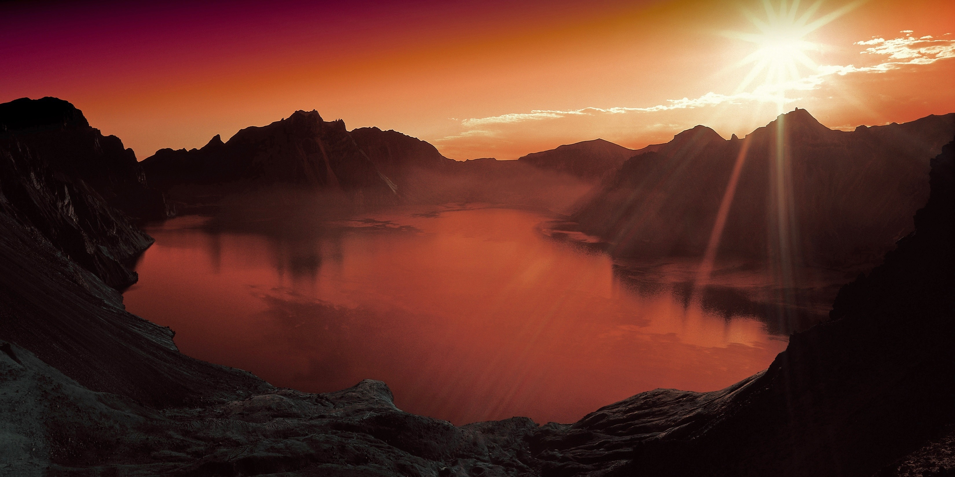 Body of water surrounded by mountains during sun set free stock photo - Photo coucher de soleil montagne ...