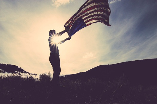 Free stock photo of man, person, united states of america, flag