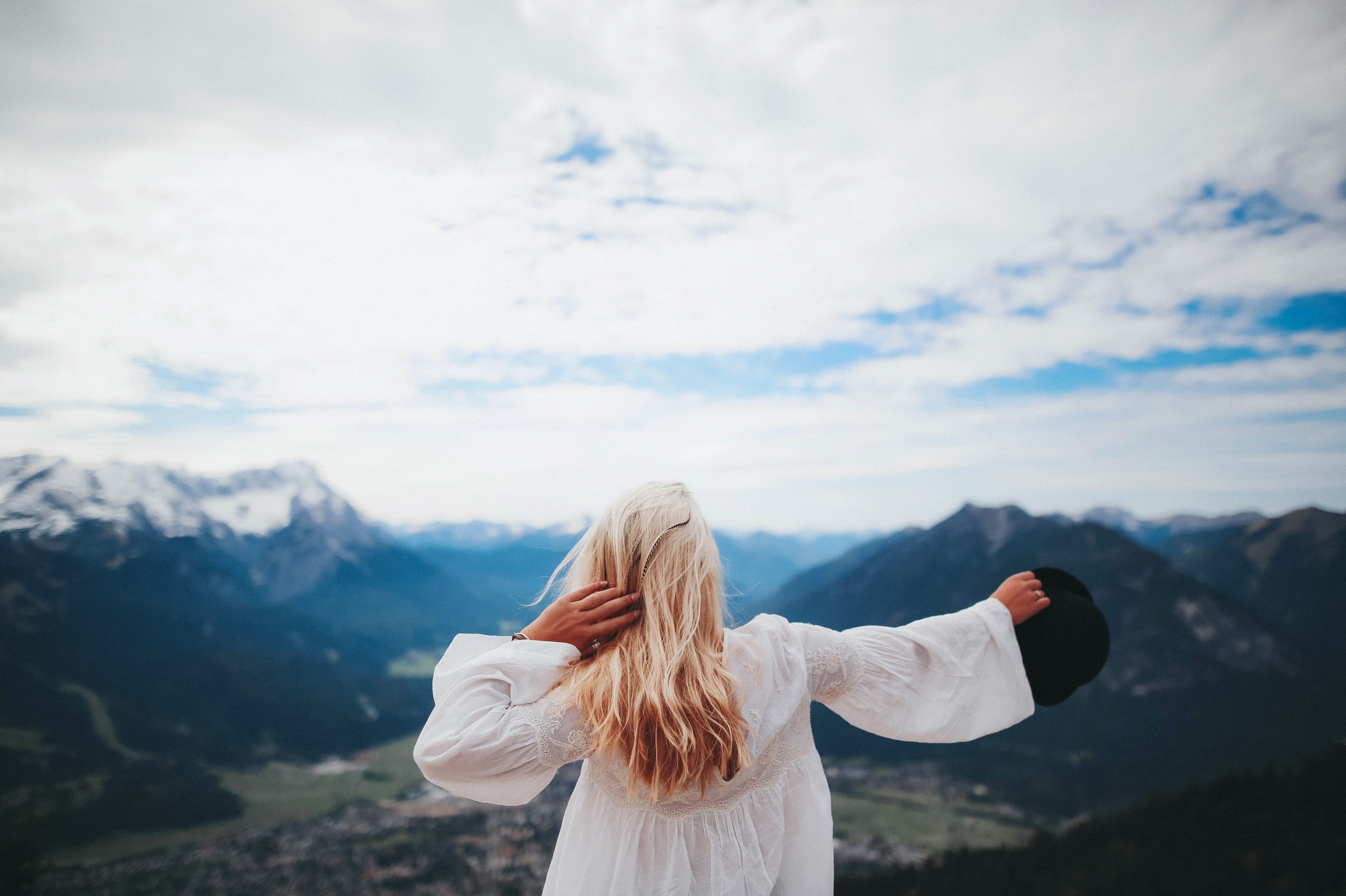 White Dressed Girl Across Black Mountains 183 Free Stock Photo