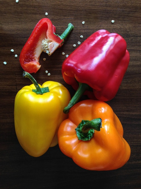 Paprika in different colors.