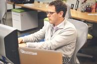 man, person, desk