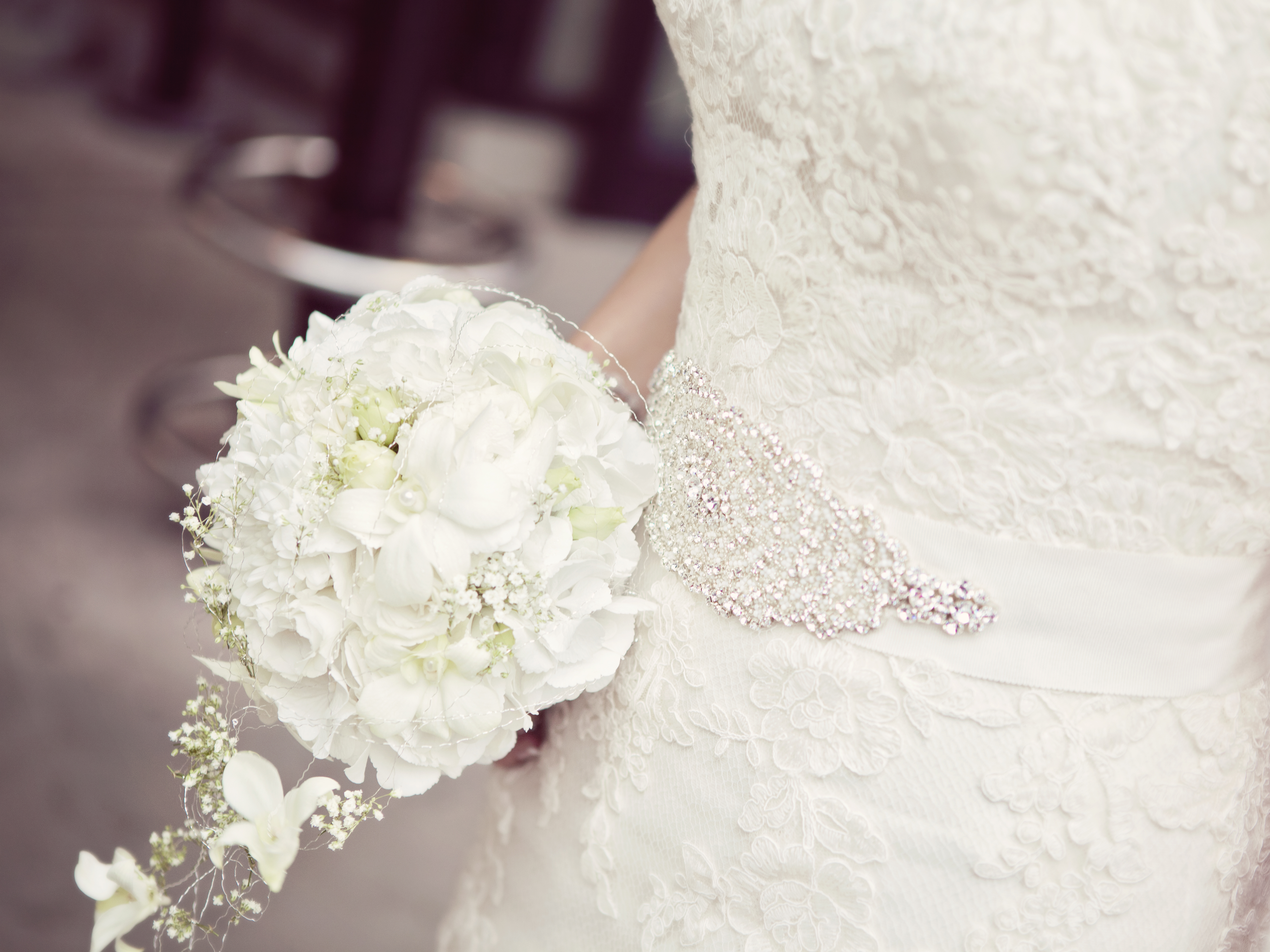 Woman Carrying Wedding Flower Free Stock Photo