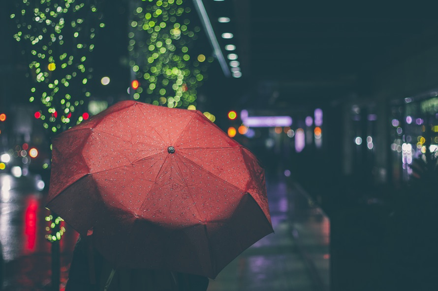 night, evening, rain