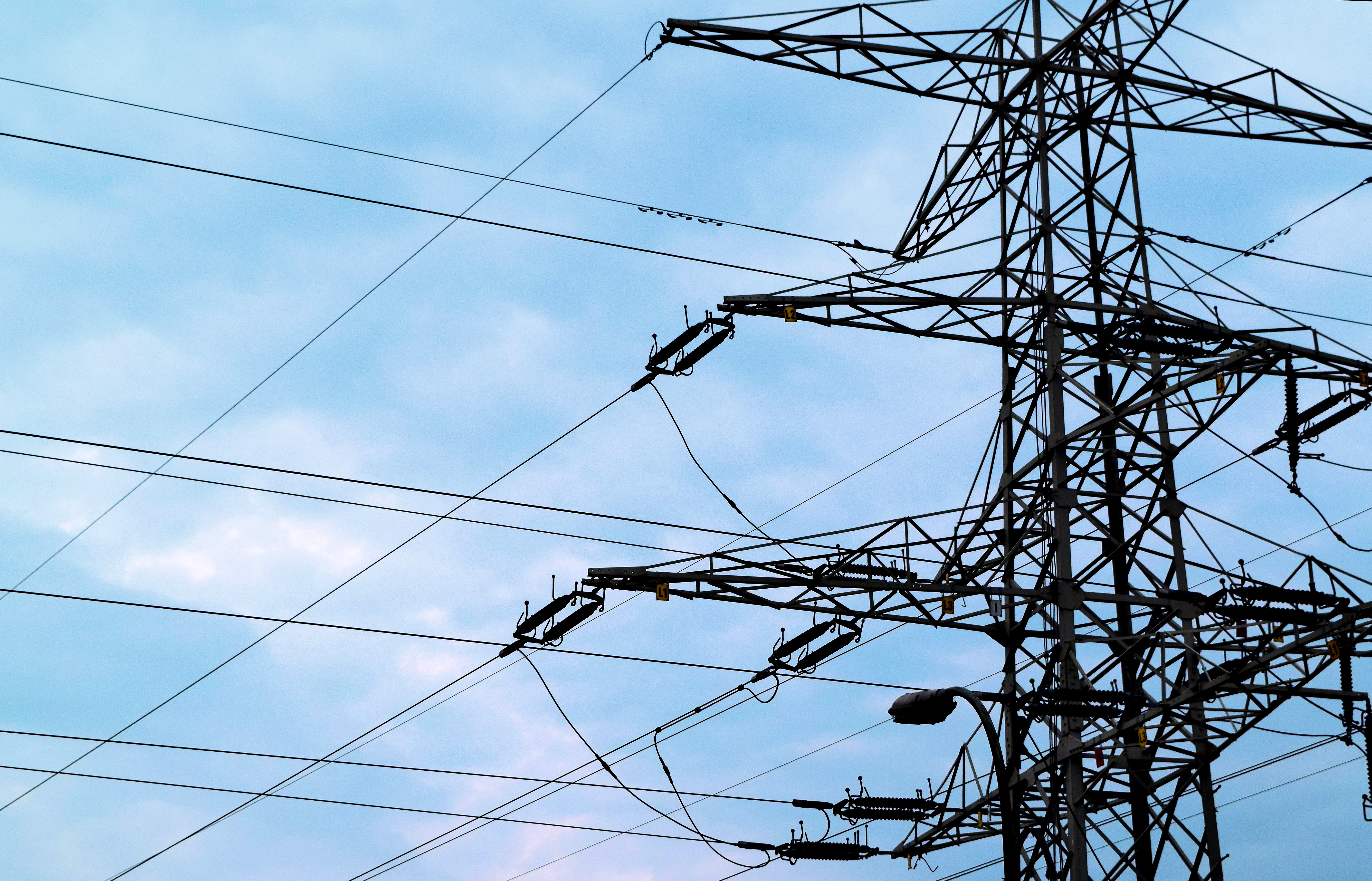 Free stock photo of blue sky, electric lines, electricity