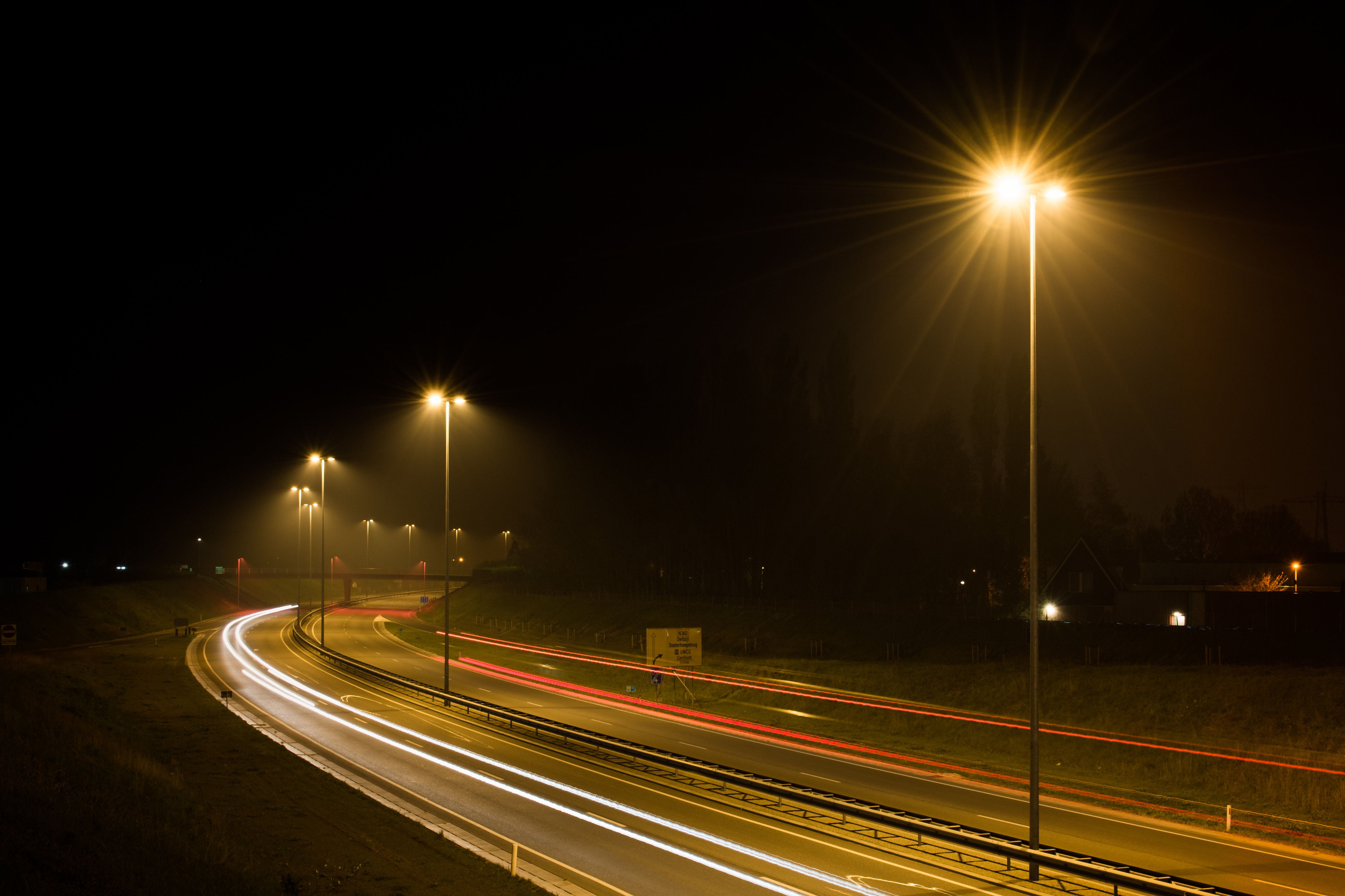 Free stock photo of car lights, dark, highway for Traffic Light On Road At Night  67qdu