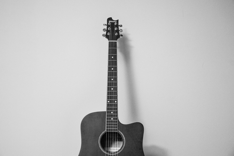 black-and-white, music, guitar
