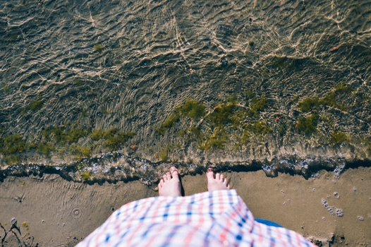 Free stock photo of beach, feet, water, wave