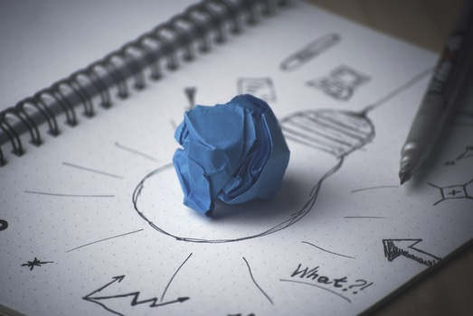 Free stock photo of idea, bulb, thinking, paper