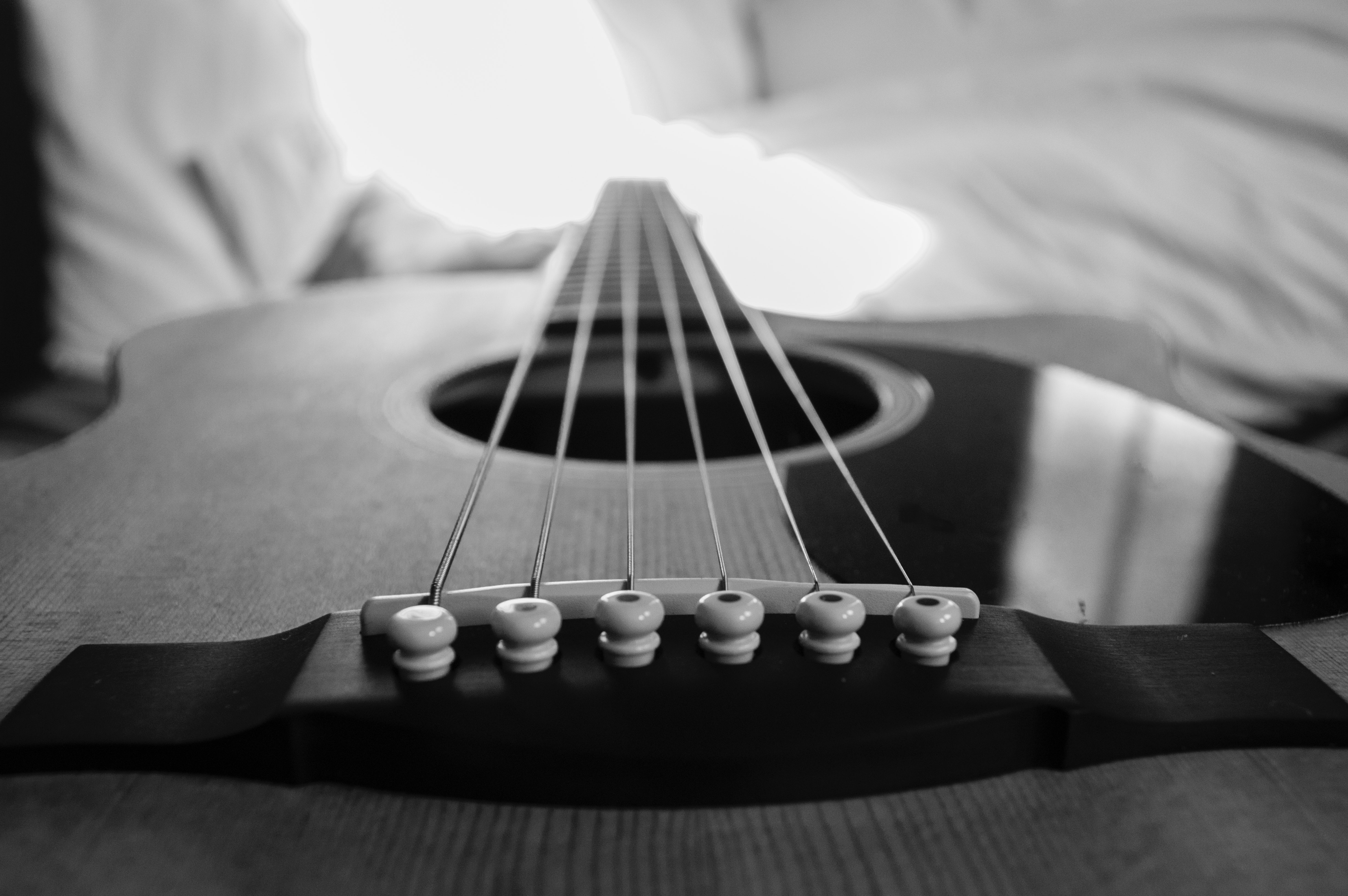 Wooden Acoustic Guitar Macro Photography In Grayscale Photo Free