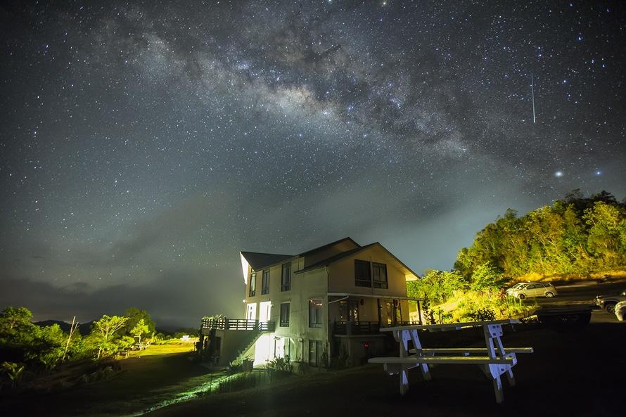 Pared Blanca pintura de casas bajo el cielo oscuro con estrellas