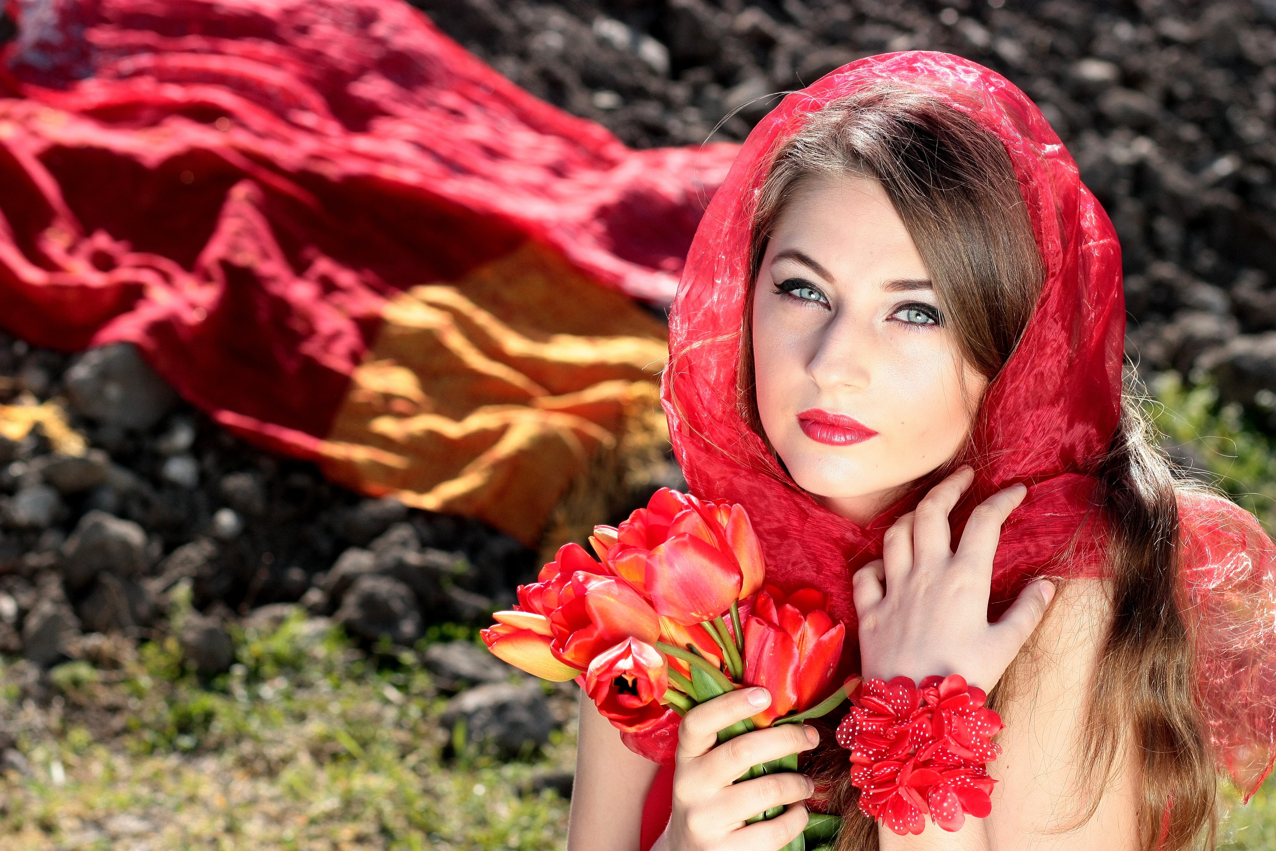 Portrait of a beautiful woman free stock photo woman wearing a red scarf holding red flowers voltagebd Images