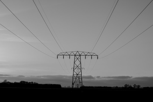 Free stock photo of black-and-white, electricity, pylon