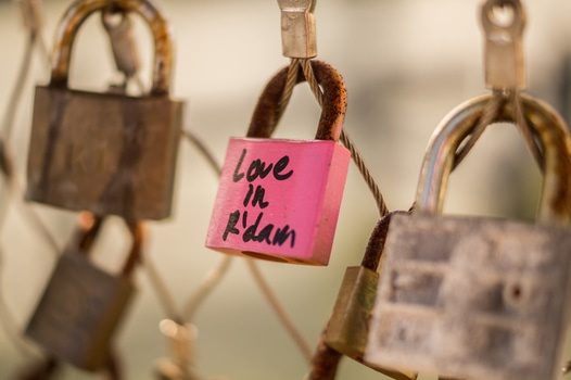 Free stock photo of love, bridge, pink, lock