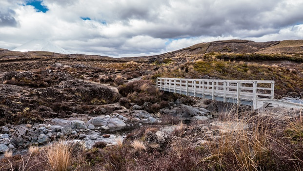 White Wooden Bridge Near Rocks