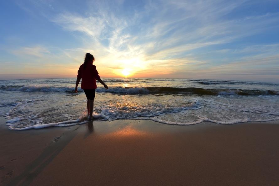 la naturaleza, la puesta del sol, playa