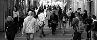 people, walking, crowd