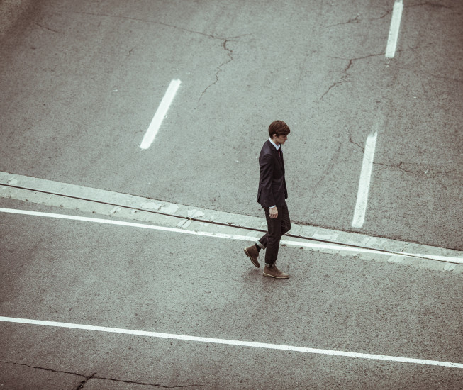 Alone, Business, Businessman, Crossing, Crossroad, Disappointed