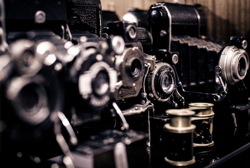 Analog Camera, Black, Cameras, Equipment, Film Reels, Lenses