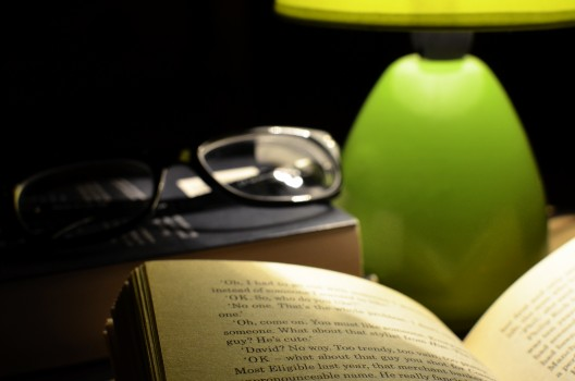 Bed, Book, Dark, Glasses