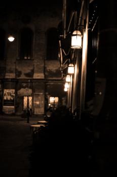 Black-and-white, Dark, Lights, Night