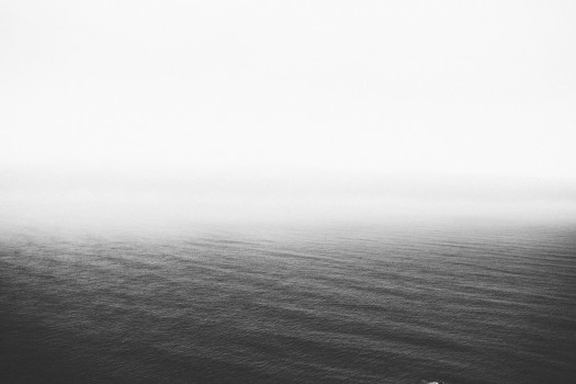 Black-and-white, Fog, Lake, Mist
