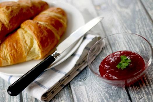 Breakfast, Croissant, Food, Jam