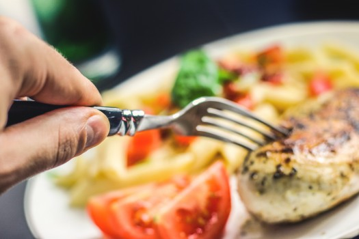 Dinner, Food, Fork, Hand