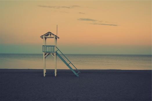 Beach, Dawn, Dust, Life Guard