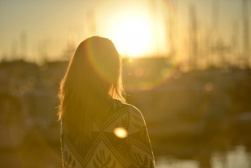 Dawn, Dust, Evening, Girl, Lens Flare, Person